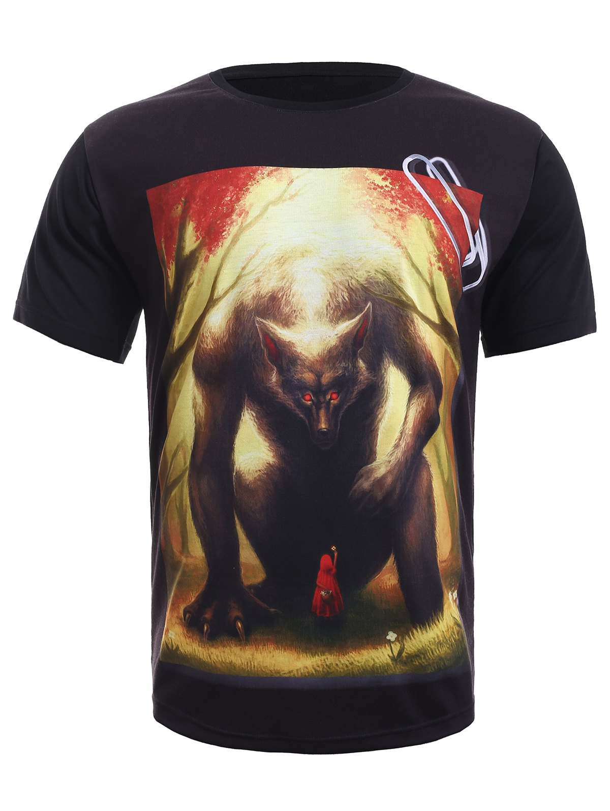 Round Neck 3D Red Riding Hood Print Short Sleeve Men's T-Shirt
