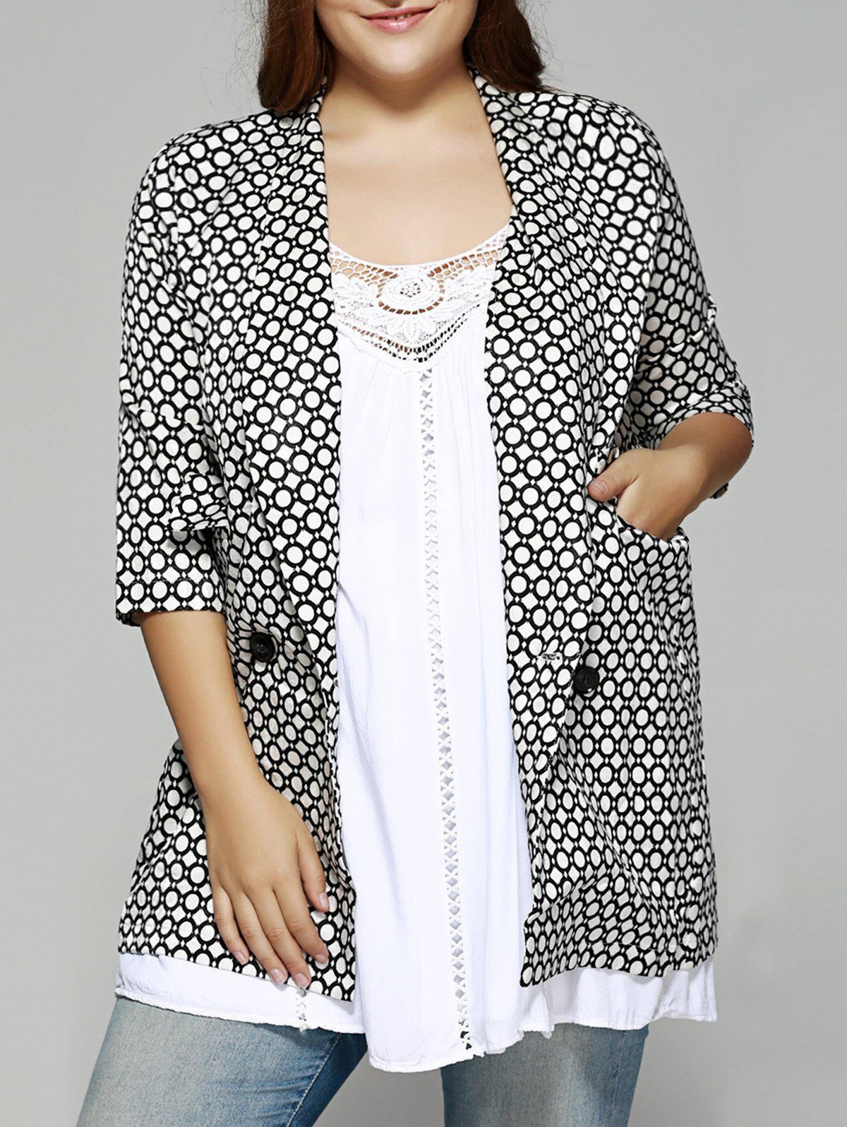 Oversized Shawl Collar Round Pattern Coat - WHITE/BLACK 2XL