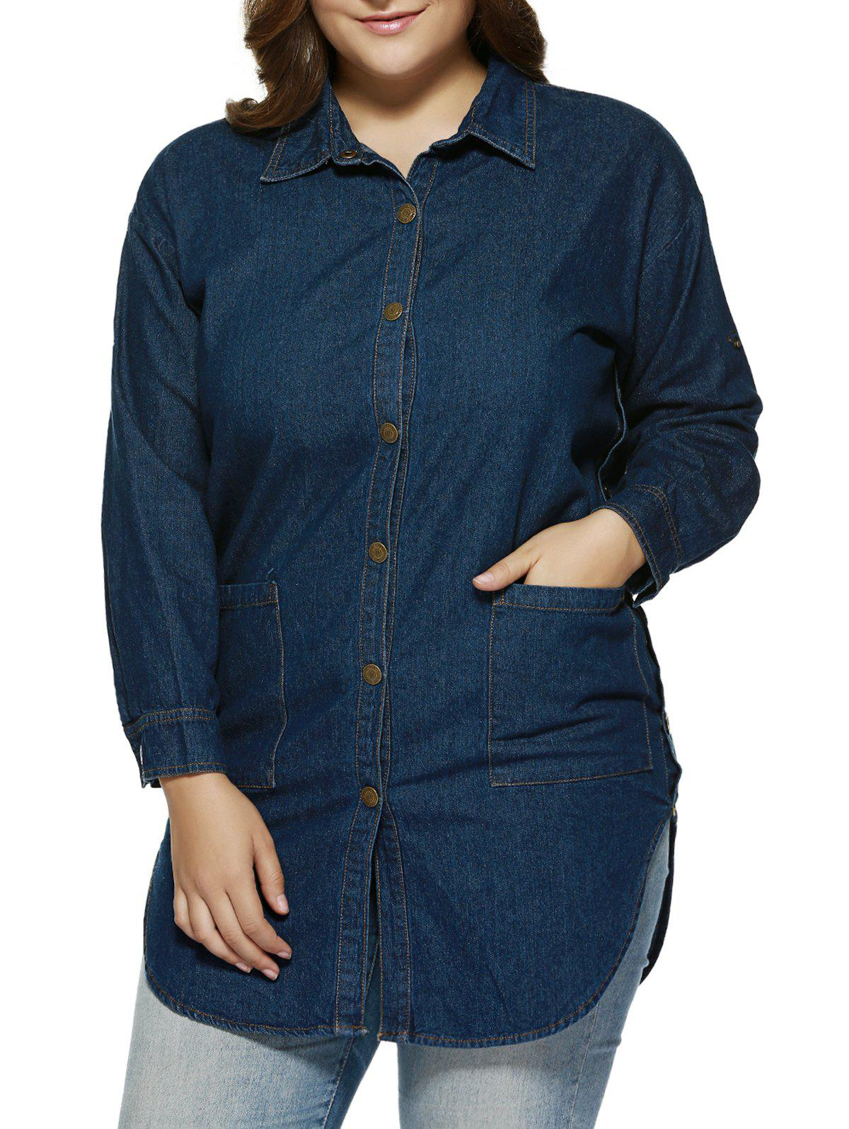 Plus Size Brief Double Pockets Denim Shirt - BLUE 4XL