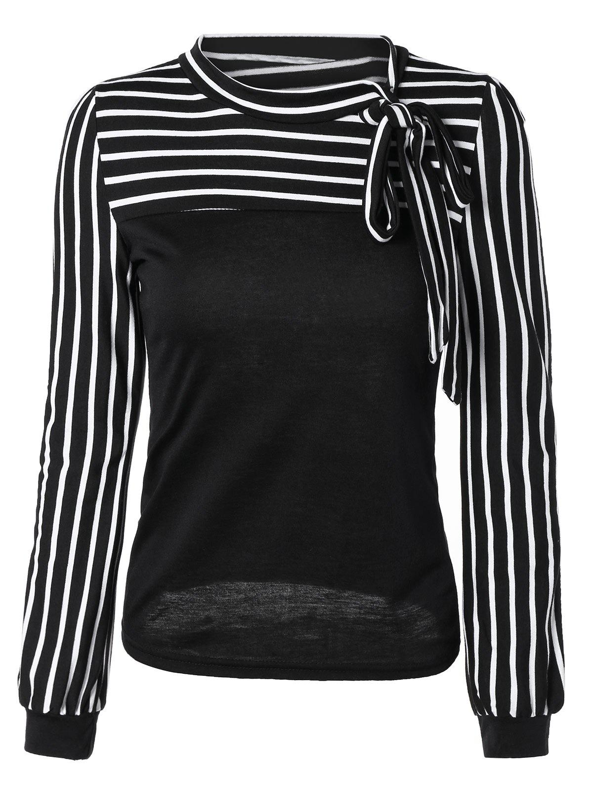 Simple Long Sleeve Bowknot Top For Women - BLACK 2XL