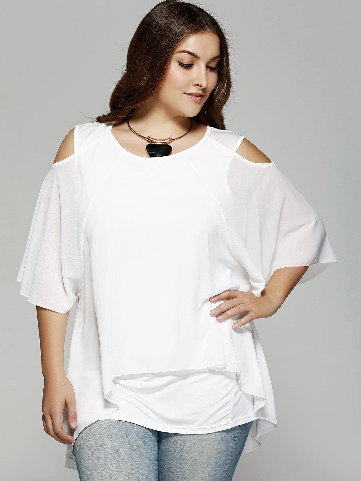 Plus Size Cold Shoulder Blouse - WHITE XL