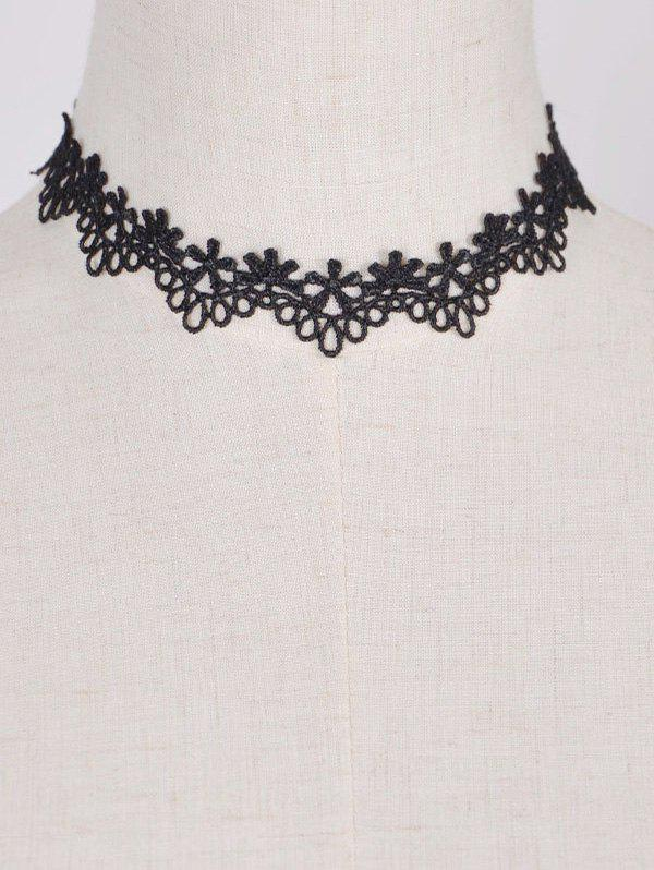 Punk Style Floral Water Drop Choker - BLACK
