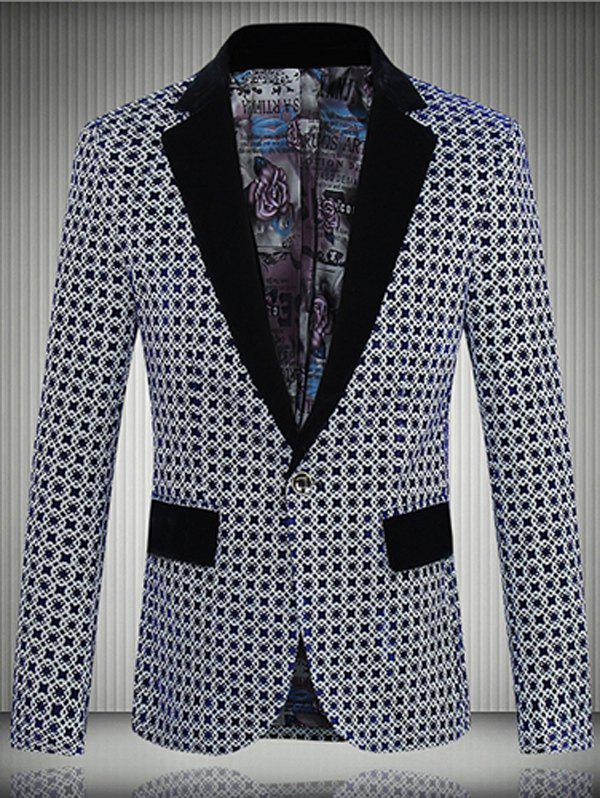 Geometric Pattern One-Button Lapel Men's Long Sleeve Blazer - DEEP BLUE 5XL