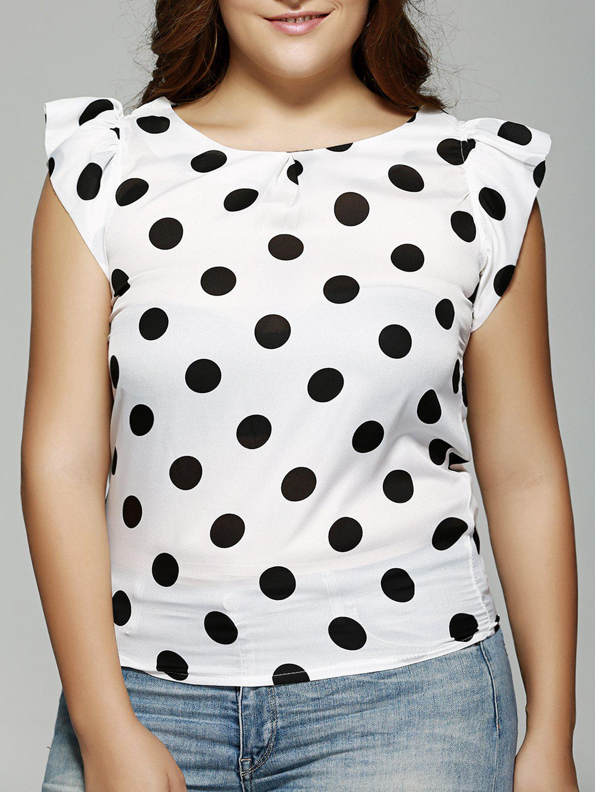 Plus Size Polka Dot Ruffle Sleeve T-Shirt - WHITE/BLACK 2XL