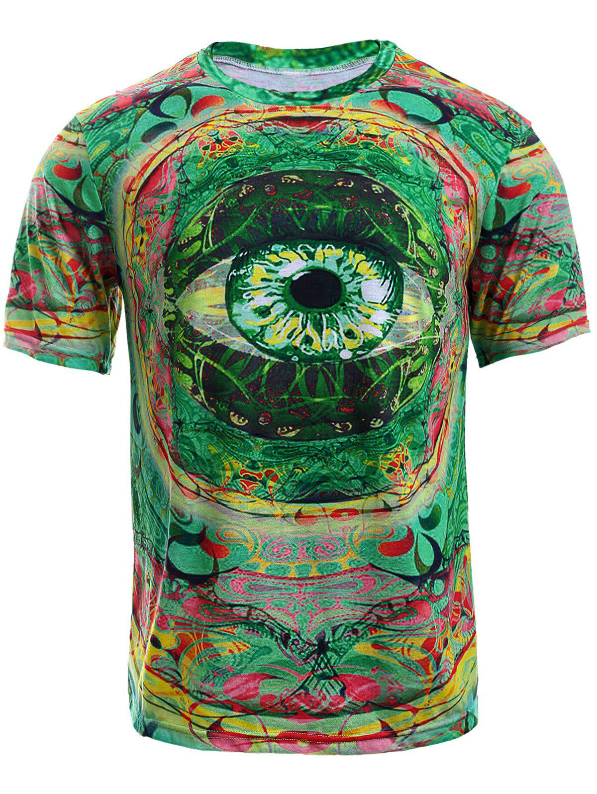 Round Neck Color Block 3D Eye Print Short Sleeve Men's T-Shirt - COLORMIX XL