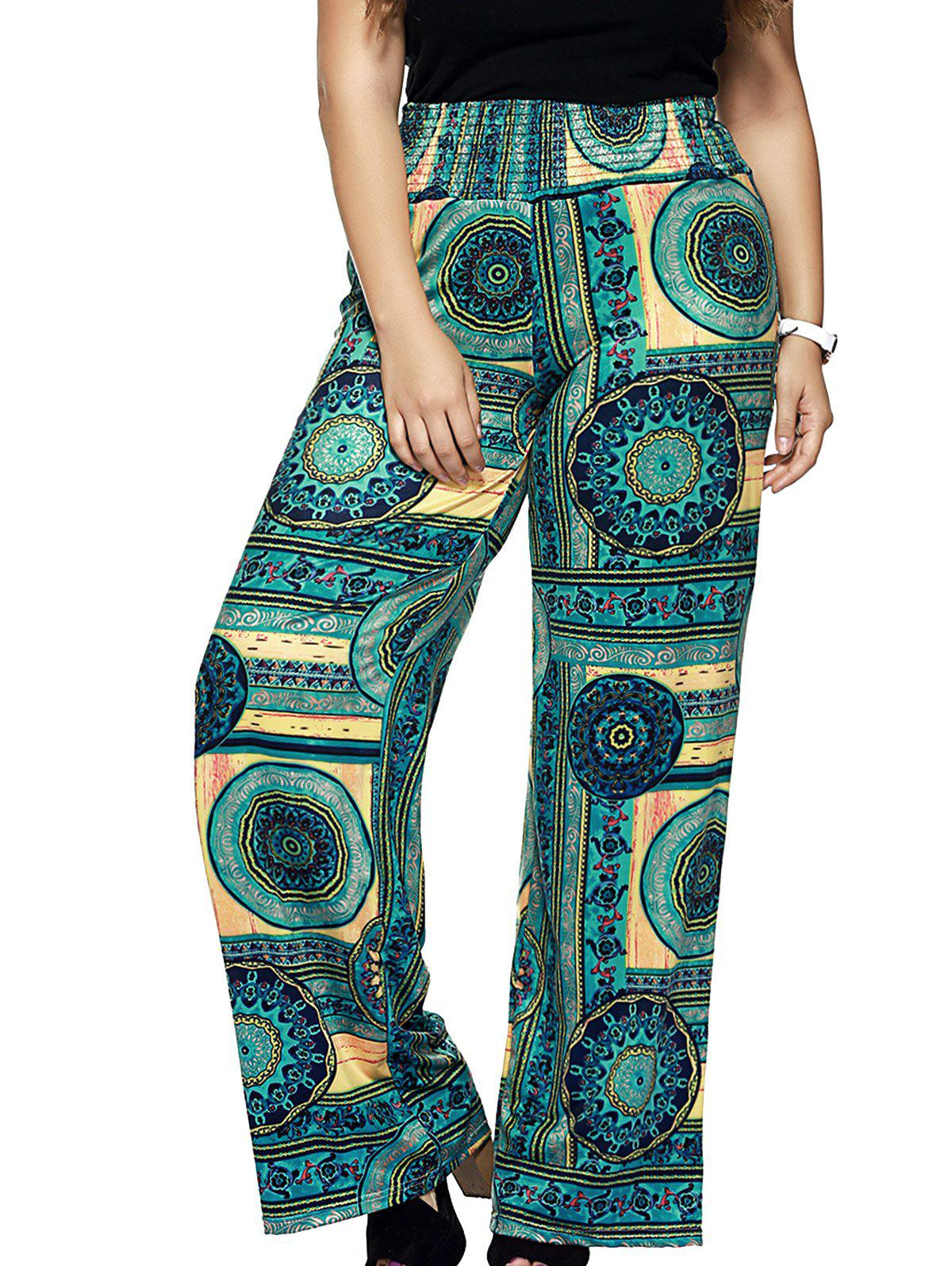 Oversized Wide Leg Vintage Pattern Pants - GREEN 6XL