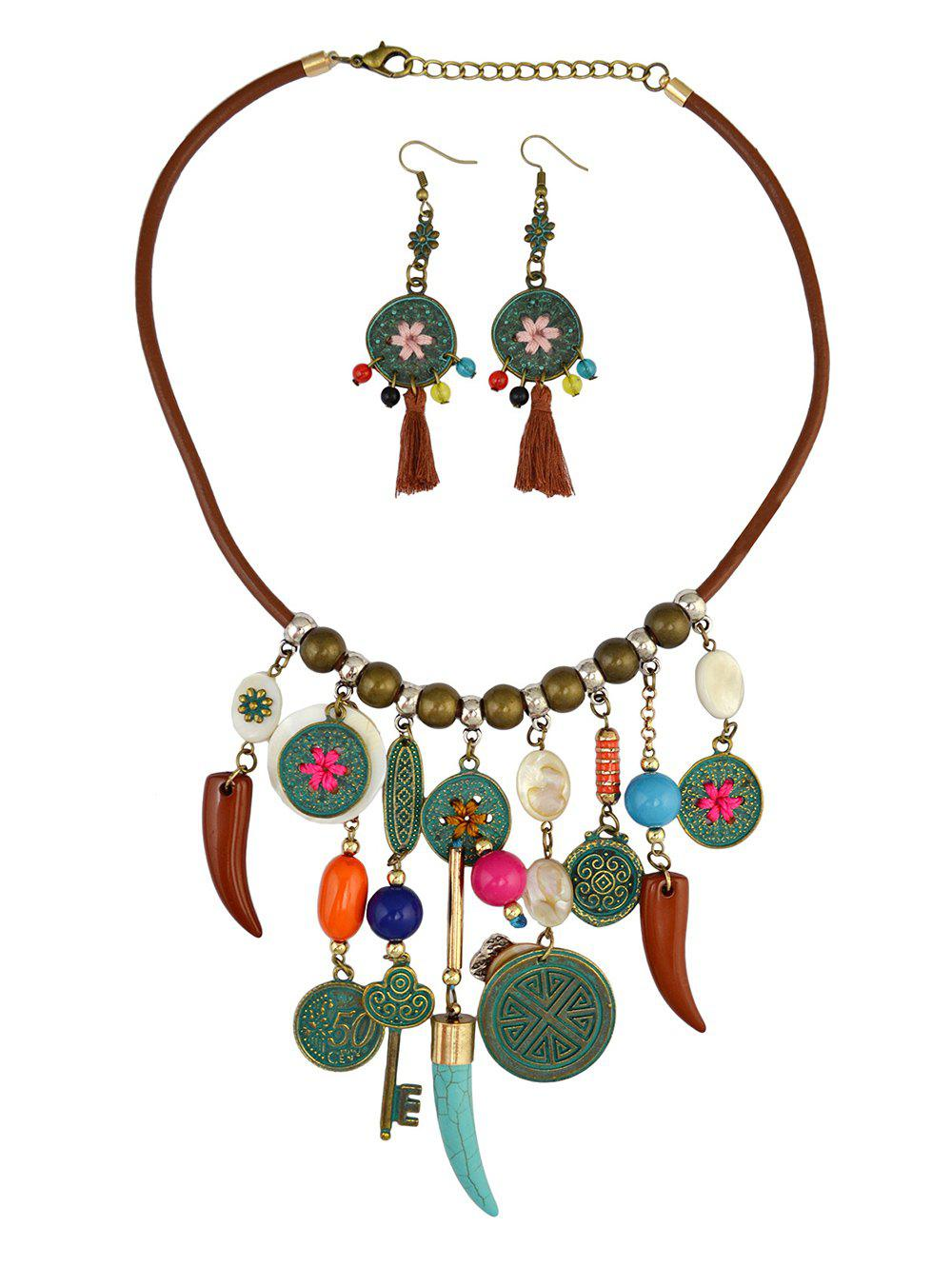 Vintage Coin Wolf Tooth Fringe Necklace and Earrings - BROWN