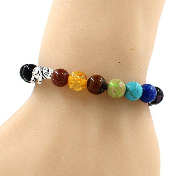 Fashion Etched Silver Plated Elephant Multicolored Beads Bracelet For Men