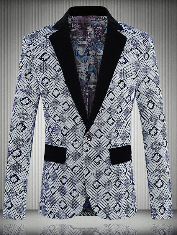 Geometric Printed One-Button Lapel Men's Long Sleeve Blazer - BLUE 5XL