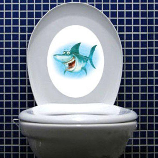 Fashionable Cartoon Shark Waterproof Toilet Wall Stickers - COLORMIX