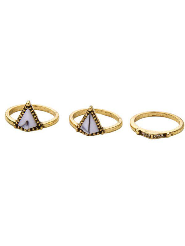 Etched Edge Rhinestone Geometric Ring Set - GOLDEN