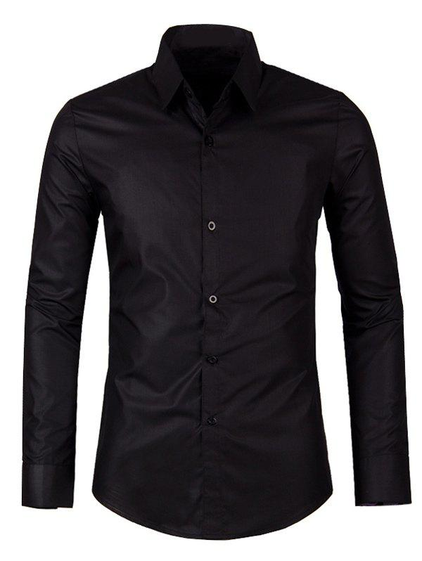Solid Color Long Sleeve Turn-down Collar Men's Shirt - BLACK XL