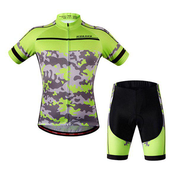 Chic Outdoor Short Sleeves Camouflage Pattern Cycling Suits For Unisex - BLACK/GREEN L