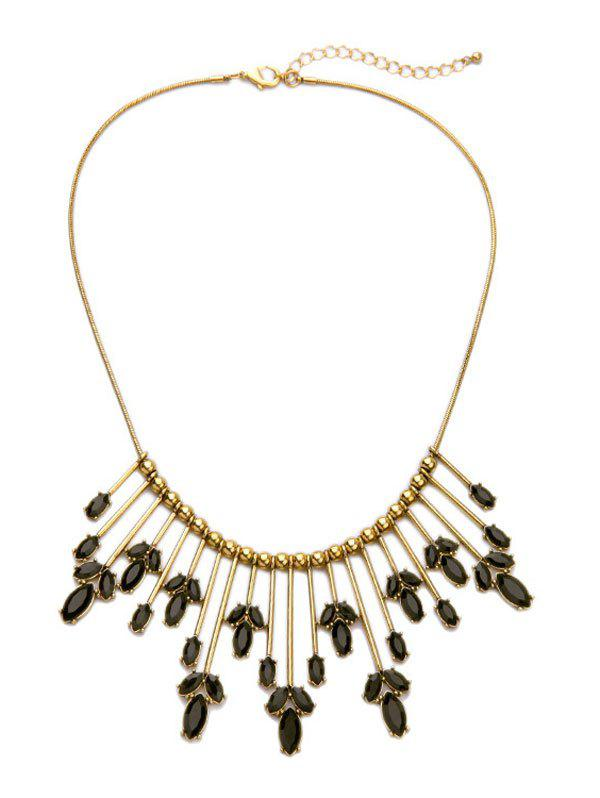 Retro Cut Out Leaf Statement Necklace - GOLDEN