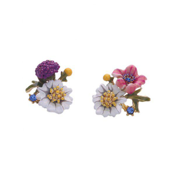 Pair of Charming Enamel Flower Earrings For Women