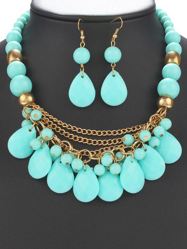 A Suit of Statement Water Drop Fringe Resin Necklace and Earrings For Women - AZURE
