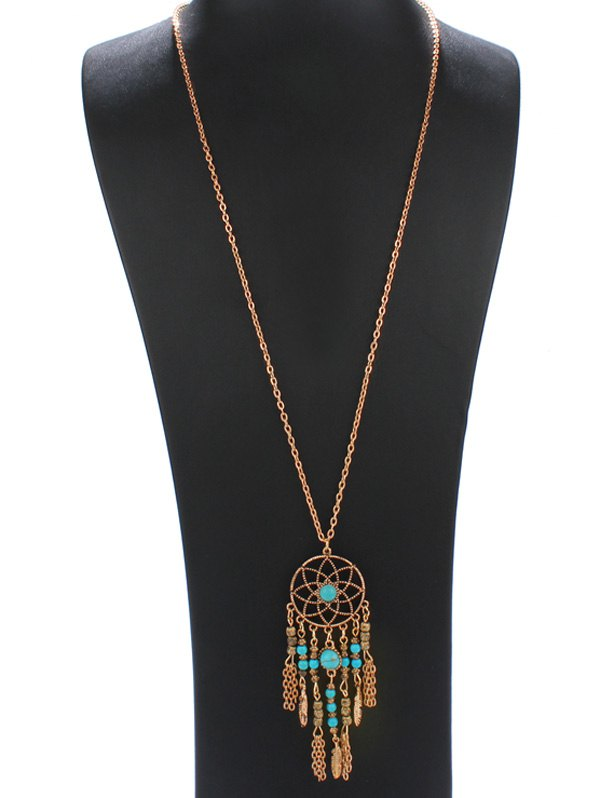 Bohemia Style Faux Turquoise Flower Fringed Necklace - GOLDEN