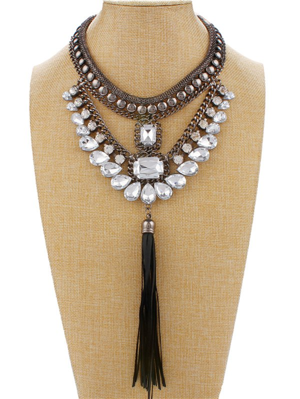Statement Faux Crystal Rhinestone Fringe Necklace For Women