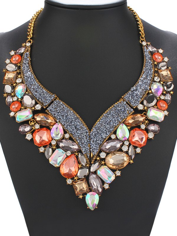 Statement Colorful Faux Gem Rhinestone Heart Necklace For Women