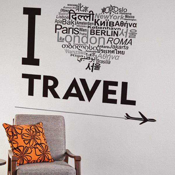 Words Letters I Love Travel Creative Waterproof Wall Stickers - BLACK