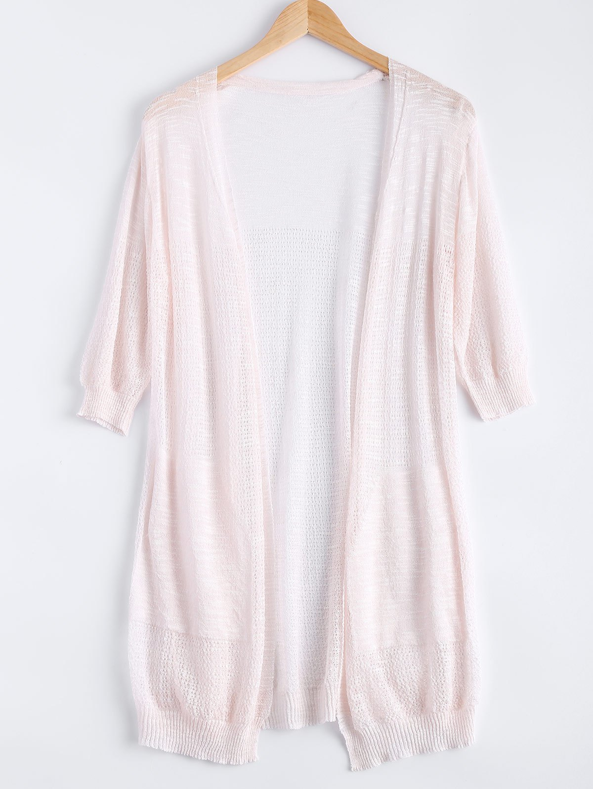 Sweet Pocket Candy Pure Color Semi Sheer Midi Cardigan - SHALLOW PINK ONE SIZE