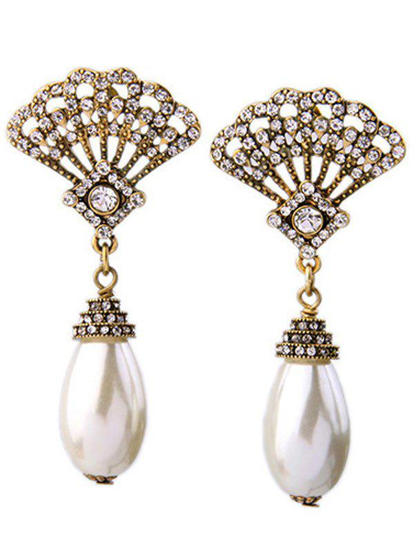 Pair of Delicate Faux Pearl Cut Out Fan Rhinestone Earrings For Women