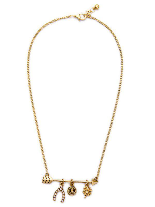 Stylish Rhinestone Lucky Clovers Etched Round Necklace For Women