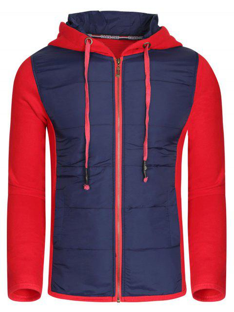Color Block Polyester Splicing Design Hooded Thicken Men's Hoodie - RED L