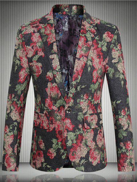 Floral Flap Pocket One-Button Lapel Long Sleeve Men's Blazer - RED XL