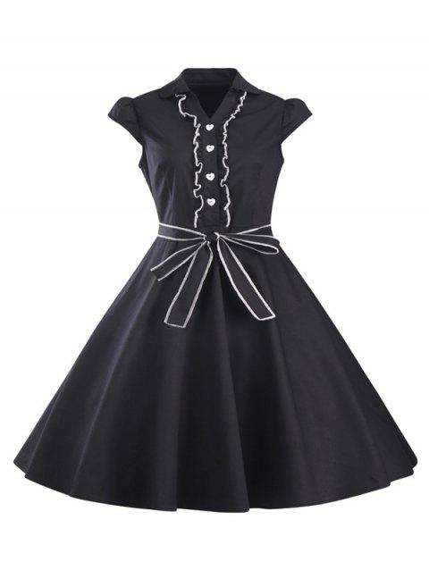 Ruffled Cap Sleeves Flare A Line Dress - BLACK M