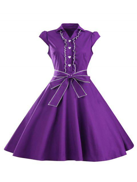 Ruffled Cap Sleeves Flare A Line Dress - PURPLE S