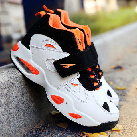 Stylish Splicing and Color Block Design Men's Athletic Shoes - ORANGE / WHITE 40