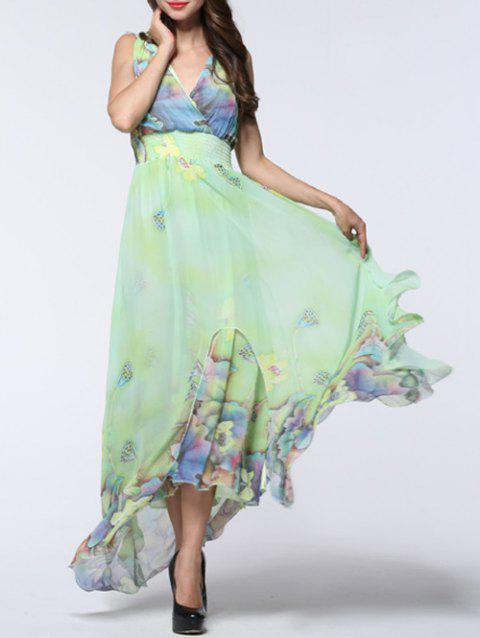 Floral Asymmetric Chiffon Maxi Flowy Dress - LIGHT GREEN 4XL