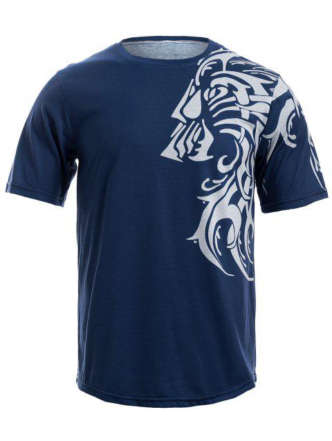 Round Neck Tattoo Style Tiger Print Short Sleeve Men's T-Shirt - BLUE S