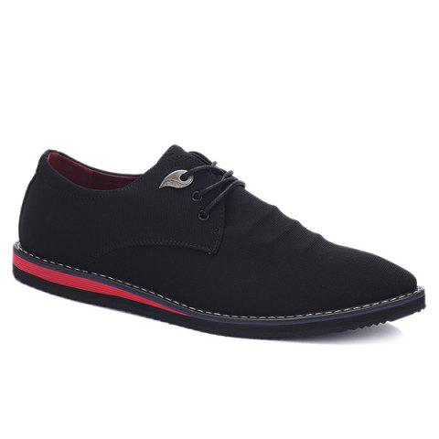 Fashionable Tie Up and Cloth Design Men's Casual Shoes - BLACK 40