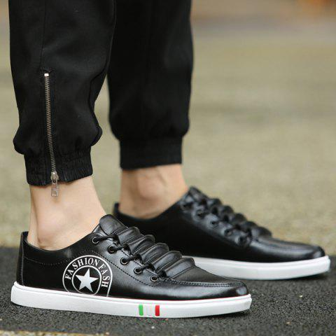 Trendy Letter and Star Print Design Men's Casual Shoes - BLACK 43