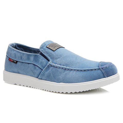 Stylish Stitching and Elastic Design Men's Casual Shoes - LIGHT BLUE 43
