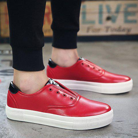 Stylish Colour Splicing and Eyelet Design Men's Casual Shoes - RED 41