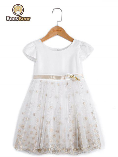 Sweet Embroidered Short Sleeve Mini Ball Gown Dress - WHITE CHILD-10