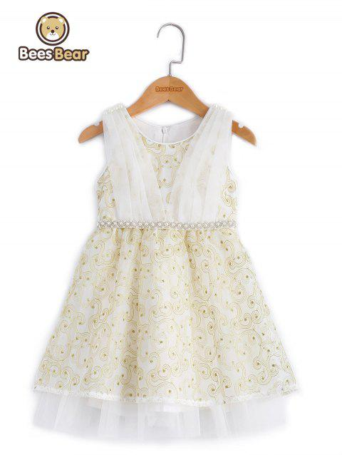 Girl's Beaded Bowknot Design Embroidered Ball Gown Dress - WHITE CHILD-10