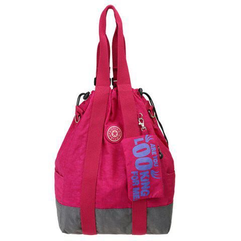 Splicing couleur simple et Drawstring design Femmes  's Sac à dos - Rose Rouge