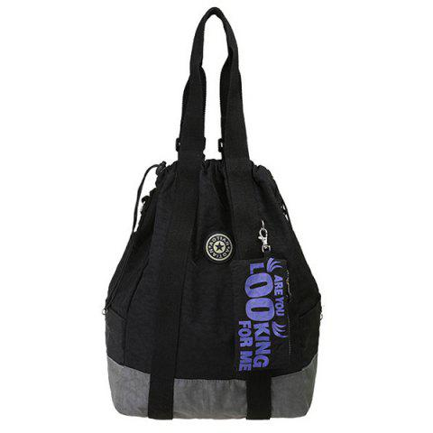 Simple Color Splicing and Drawstring Design Women's Backpack - BLACK