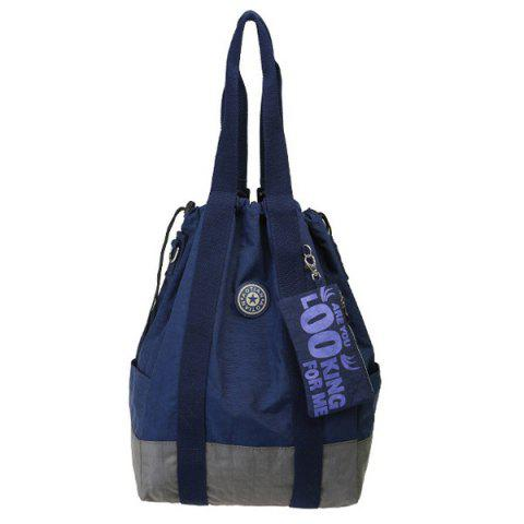Simple Color Splicing and Drawstring Design Women's Backpack - DEEP BLUE