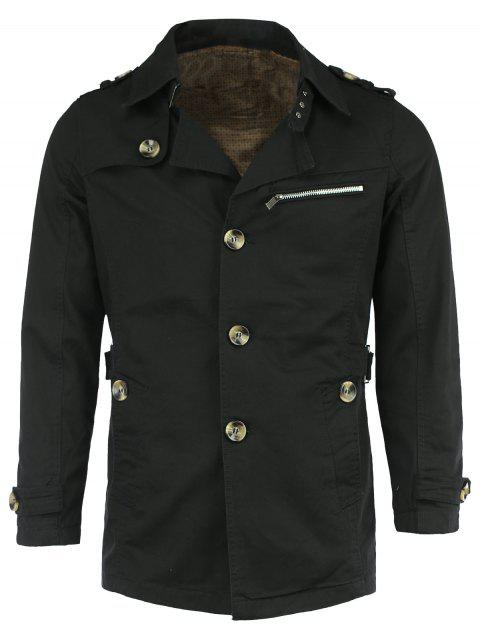 Coton Blends Epaulet Zipper design Trench Tournez-Down Collar Coat - Noir L