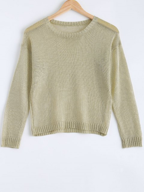 Trendy Long Sleeve Hollow Out Pure Color Women's Knitwear - GOLDEN ONE SIZE