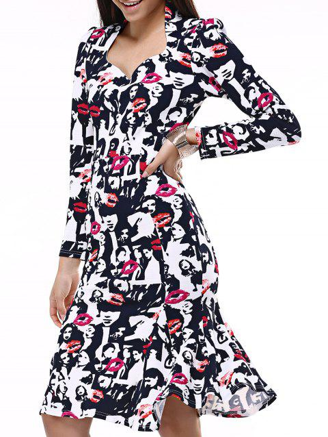 Face Print Mermaid Sweetheart Prom Dress - BLACK/WHITE/RED 2XL