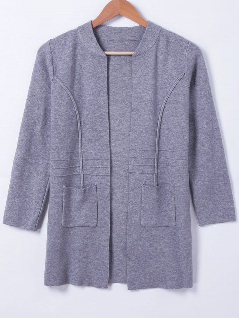 Casual Women's Stand Neck Pocket Long Sleeves Cardigan - DEEP GRAY ONE SIZE(FIT SIZE XS TO M)