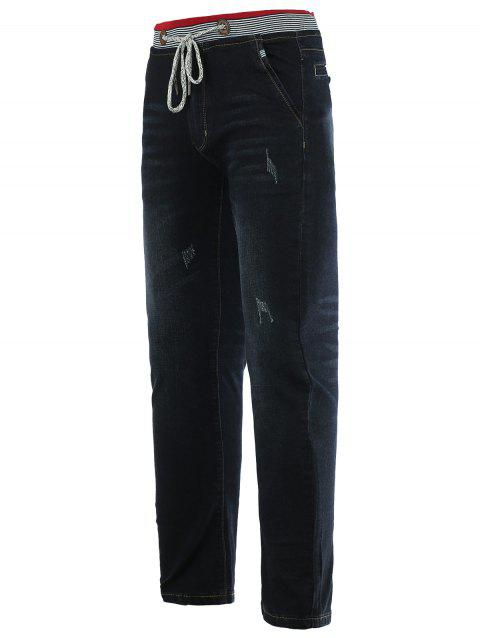 Jeans + Coton droites Cat 's Leg  Whisker Lace-Up Slimming Jeans Denim - Noir 31