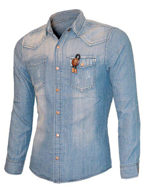 Cat's Whisker String Embroidered Long Sleeve Men's Denim Shirt - LIGHT BLUE XL