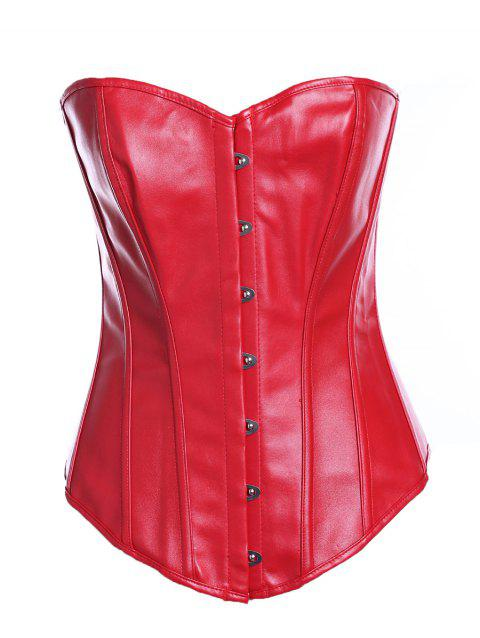 Chic Faux Leather Solid Color Women's Corset - RED S